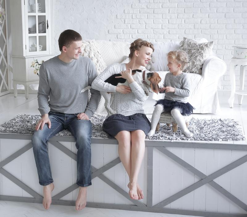 Parents and little girl playing with a dog royalty free stock images
