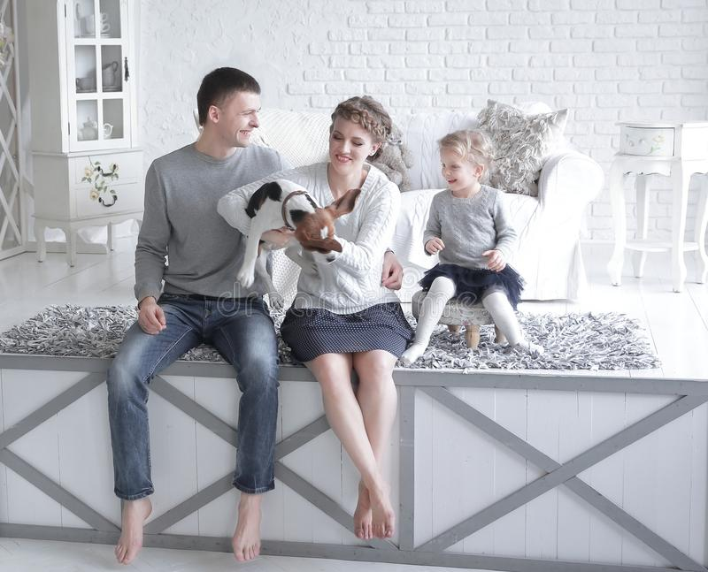 Parents and little girl playing with a dog stock photography