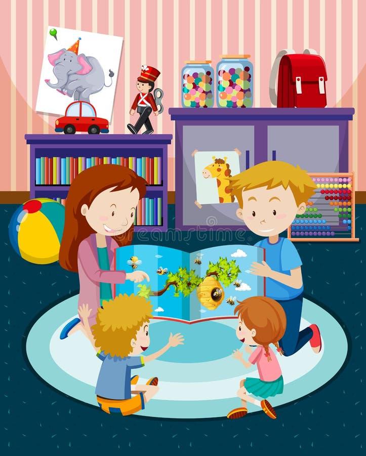 Parents reading children a book. Illustration royalty free illustration