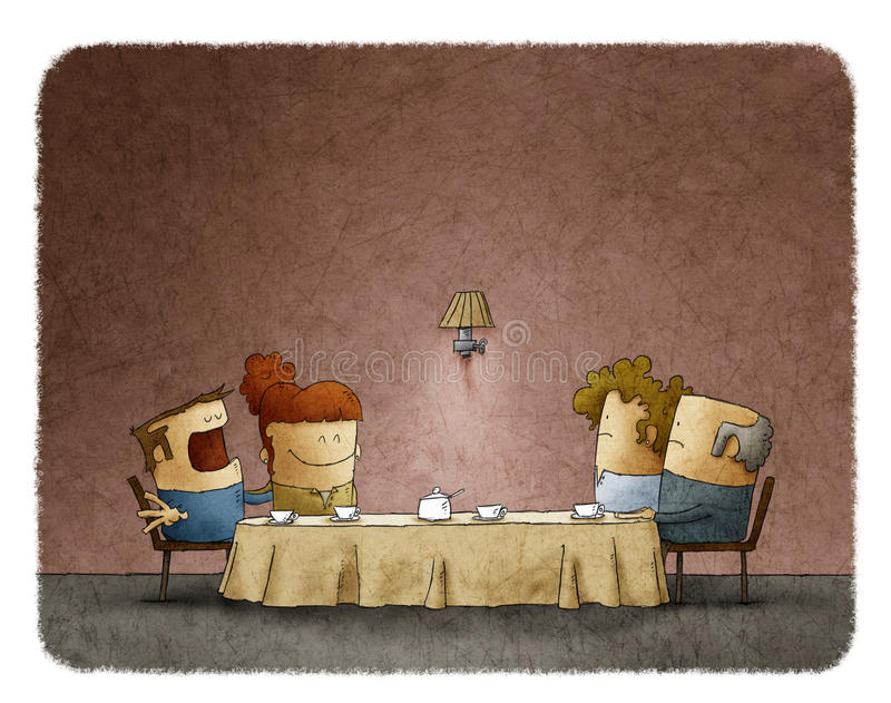 Parents s'asseyant à la table avec la fille et le beau-fils à la maison illustration stock