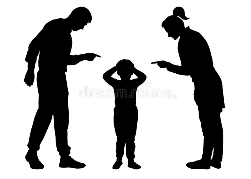 Parents scold the child. Mom and Dad scold the baby who is guilty. Silhouette vector on white background vector illustration