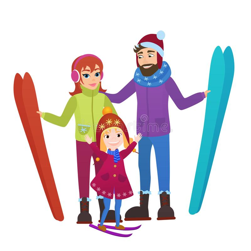 Parents skiers with daughter in snow mountains. Family Man, woman and girl winter ski leisure vector illustration. Parents skiers with daughter in snow stock illustration