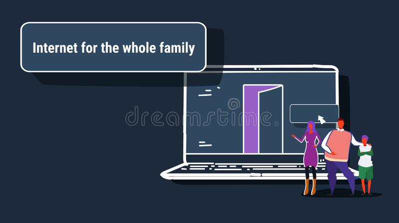 Parents and son using laptop computer web browser internet for whole family online browsing concept people searching royalty free illustration