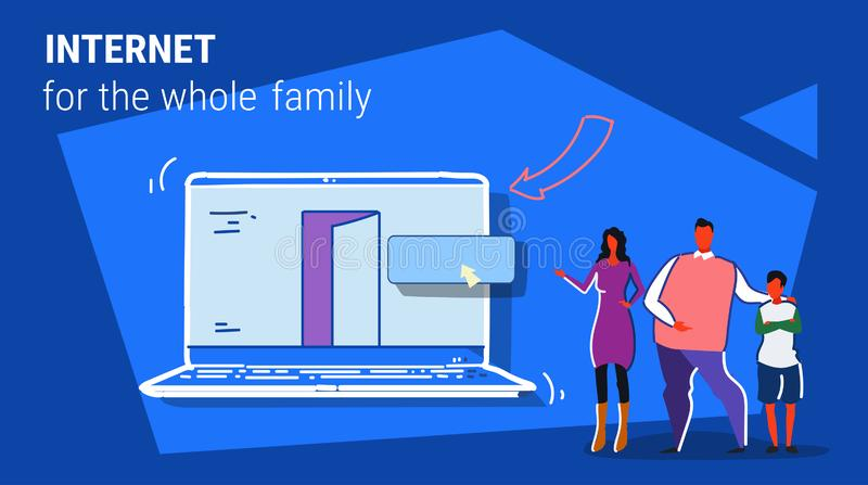 Parents and son using laptop computer web browser internet for whole family online browsing concept people searching vector illustration
