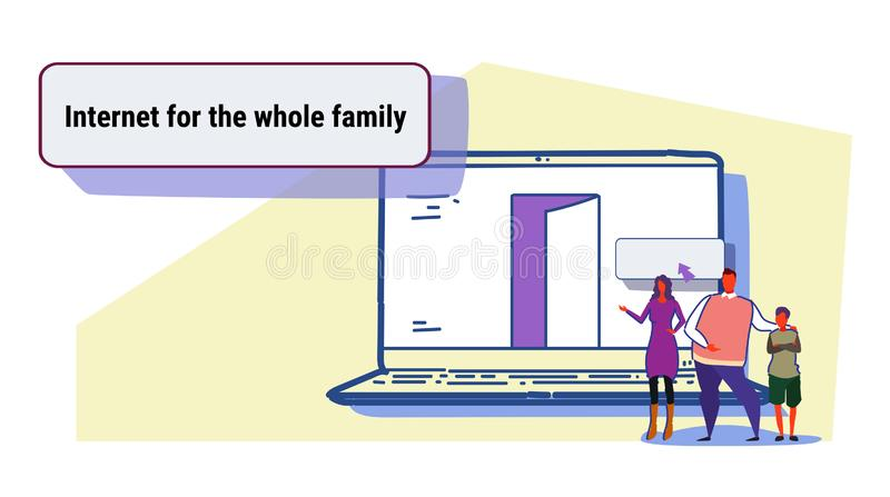 Parents and son using laptop computer web browser internet for whole family online browsing concept people searching stock illustration