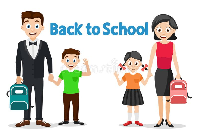 Parents take their children to school, characters on a white. Back to school. vector illustration