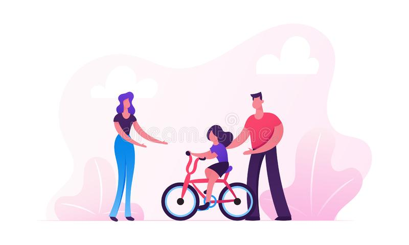 Parents Teaching Child Riding Bicycle in City Park. Happy Family Having Outdoors Activity Spending Time Together on Street royalty free stock photography