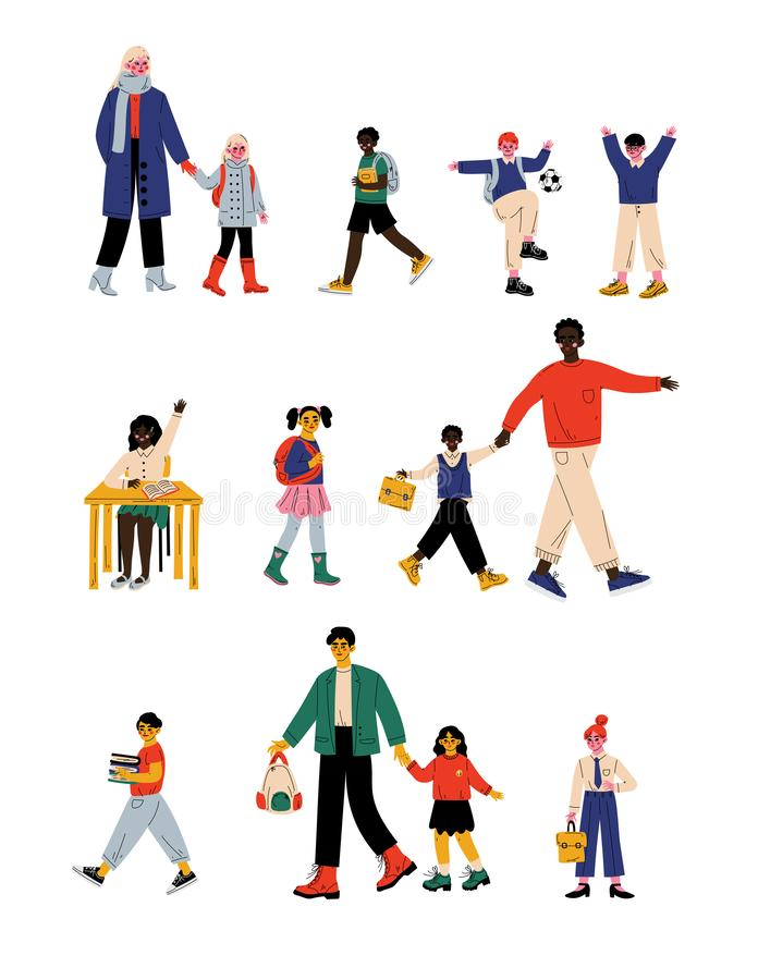 Parents and Their Children Walking to School in Morning, Cute Students Boys and Girls Studying at School Vector. Illustration on White Background stock illustration