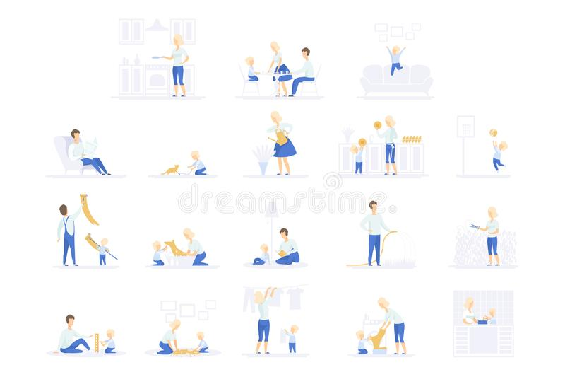 Parents and their kid spending time together and doing homework set, family lifestyle concept vector Illustrations on a. Parents and their kid spending time vector illustration