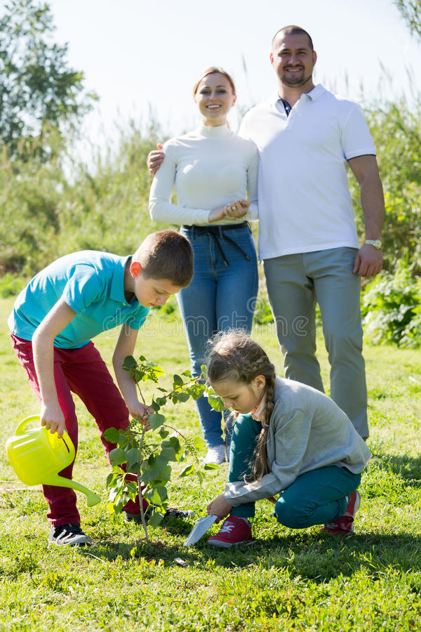 Parents with two kids planting a bush stock photos