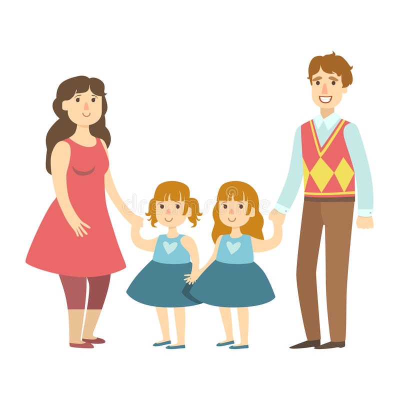 Parents And Two Twin Little Daughters, Illustration From Happy Loving Families Series royalty free illustration