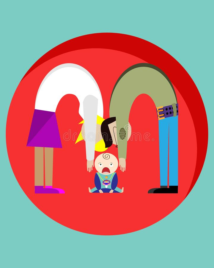 Parents want to take the child in their arms who is crying. Creative drawing. Vector illustration royalty free illustration
