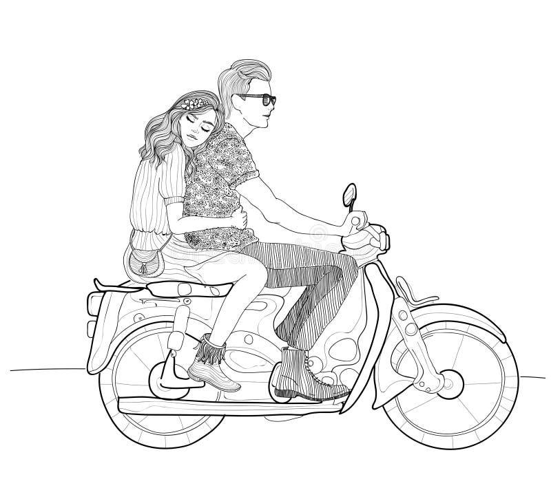 Pares à moda bonitos no amor que monta um velomotor, bicicleta motorizada ilustração royalty free