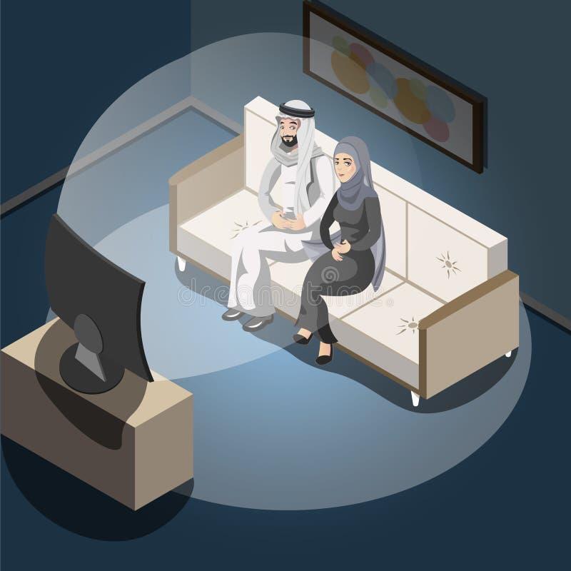 Pares árabes que ven la TV libre illustration