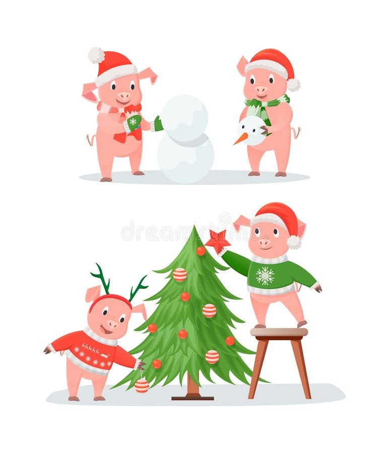 Pares, árbol de navidad y muñeco de nieve del cerdo del Año Nuevo ilustración del vector