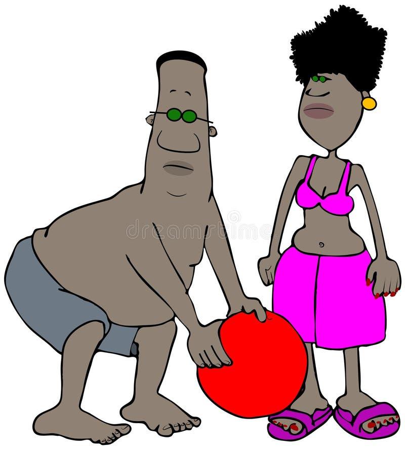 Pares étnicos en la playa stock de ilustración