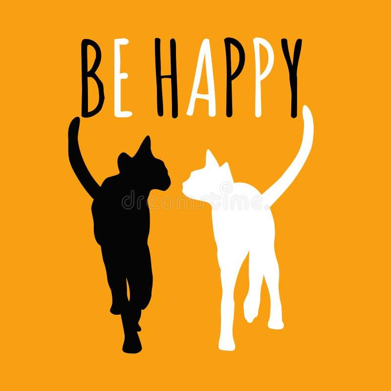 Pares abstractos del dibujo de la acuarela de gatos en amor ilustración del vector