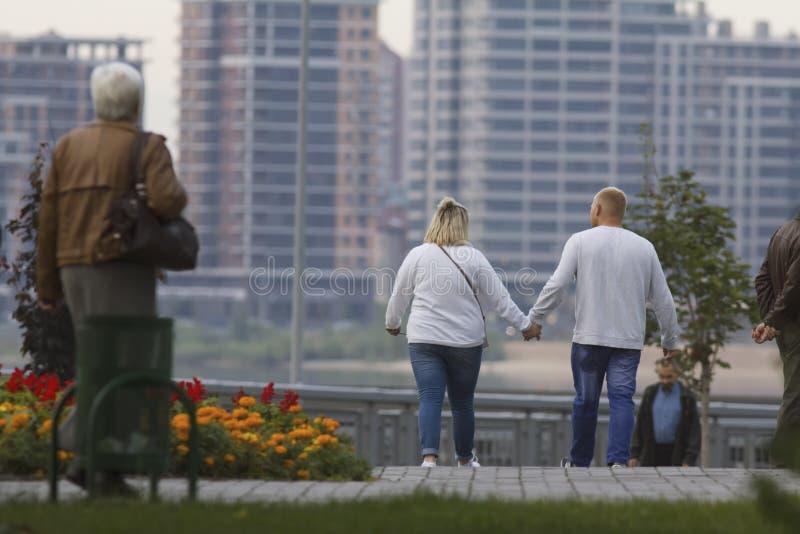 Pares adultos felices que llevan a cabo las manos y que caminan en parque imagenes de archivo