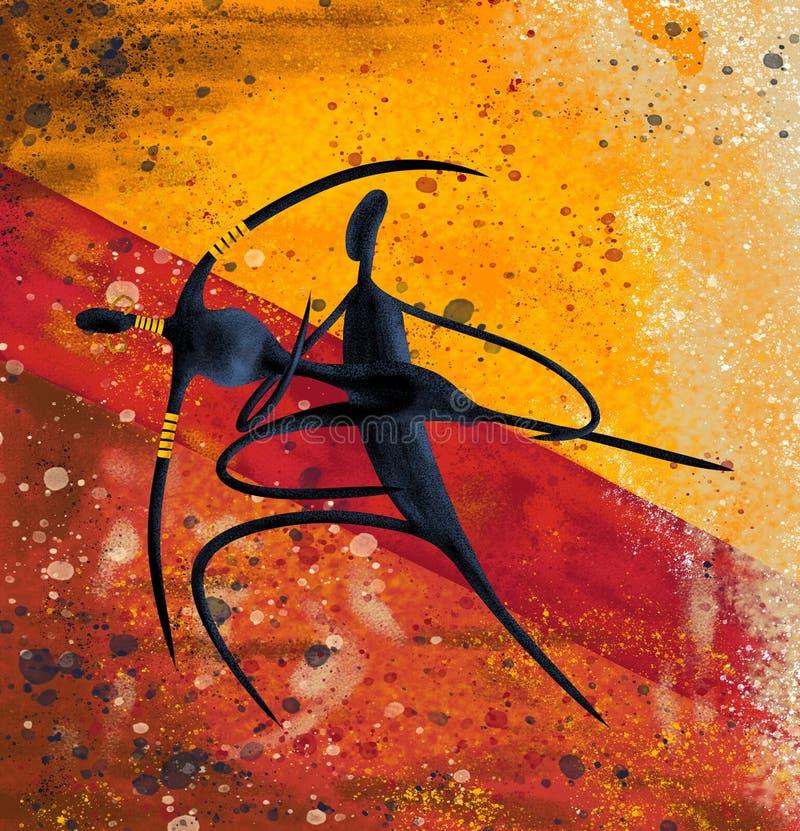 Pares africanos que bailan las ilustraciones digitales de la lona de pintura ilustración del vector