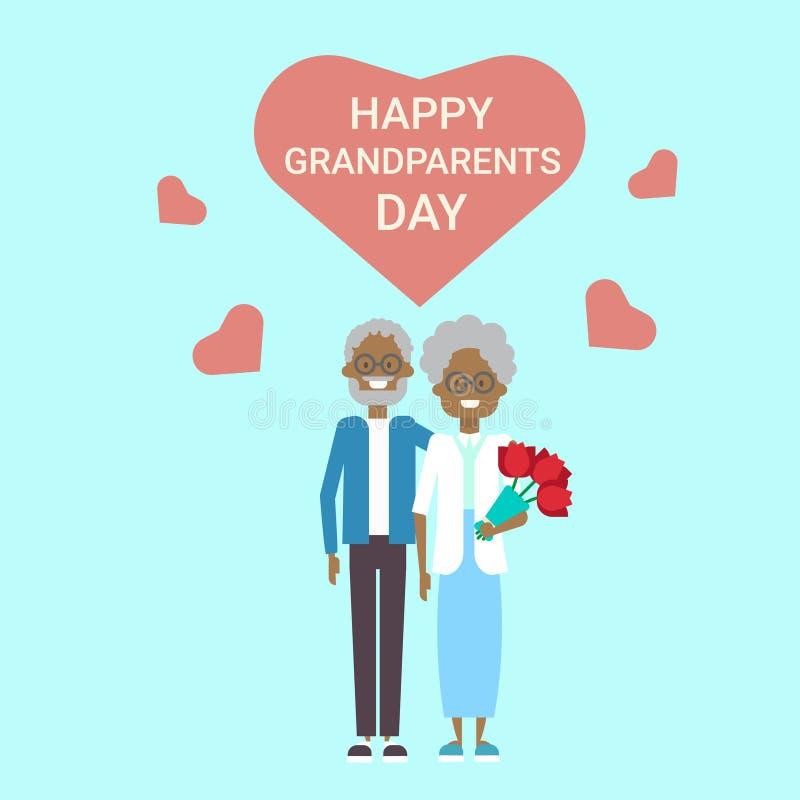 Pares afroamericanos del abuelo y de la abuela de los abuelos del día de felicitación de la tarjeta de la bandera feliz del día d stock de ilustración