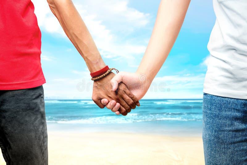 Pares alegres que guardam as mãos que estão junto na praia fotografia de stock