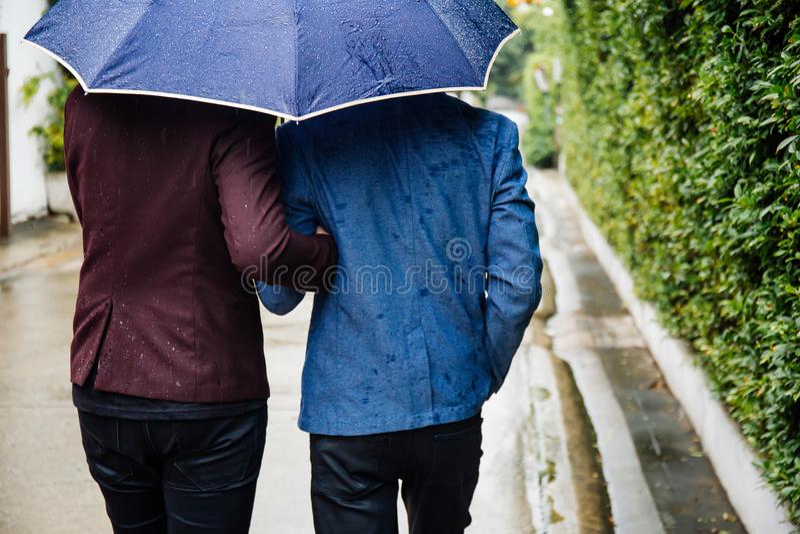 Pares alegres que mantêm o guarda-chuva e as mãos unidas Para trás dos homens homossexuais que andam na chuva fotos de stock royalty free