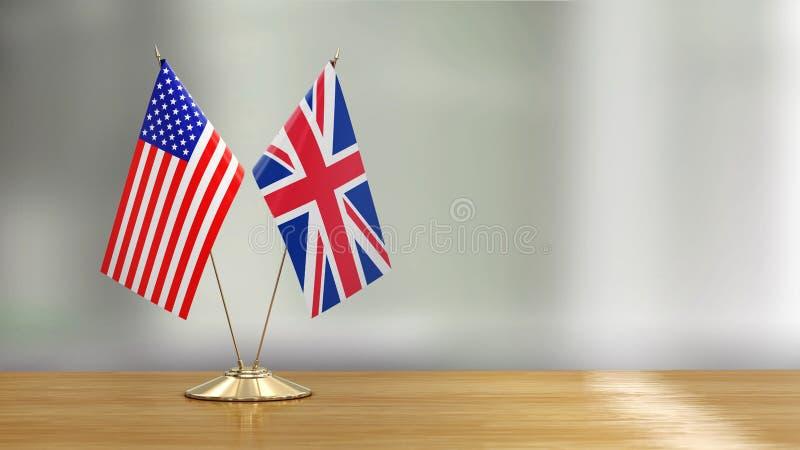 Pares americanos e britânicos da bandeira em uma mesa sobre fundo defocused ilustração royalty free