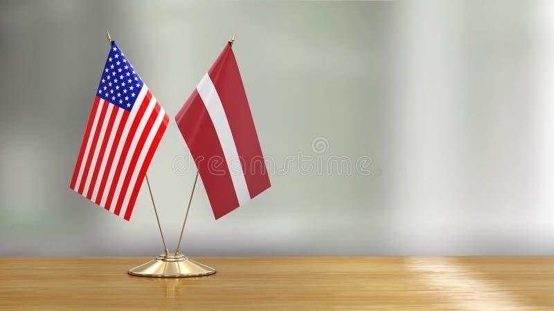 Pares americanos e letães da bandeira em uma mesa sobre fundo defocused ilustração do vetor