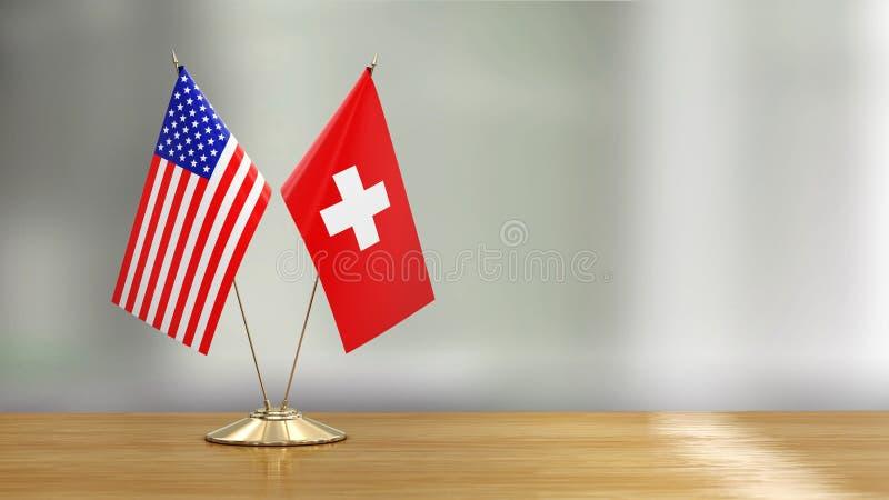 Pares americanos y suizos de la bandera en un escritorio sobre fondo defocused ilustración del vector
