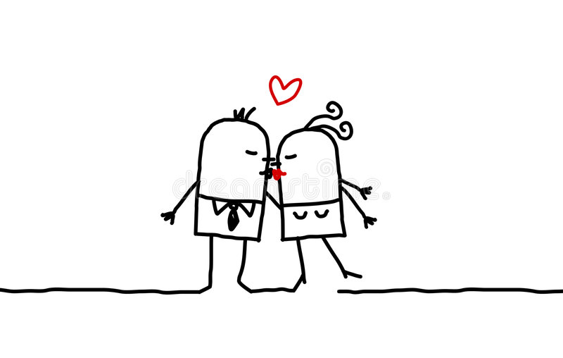 Pares & beijo ilustração stock