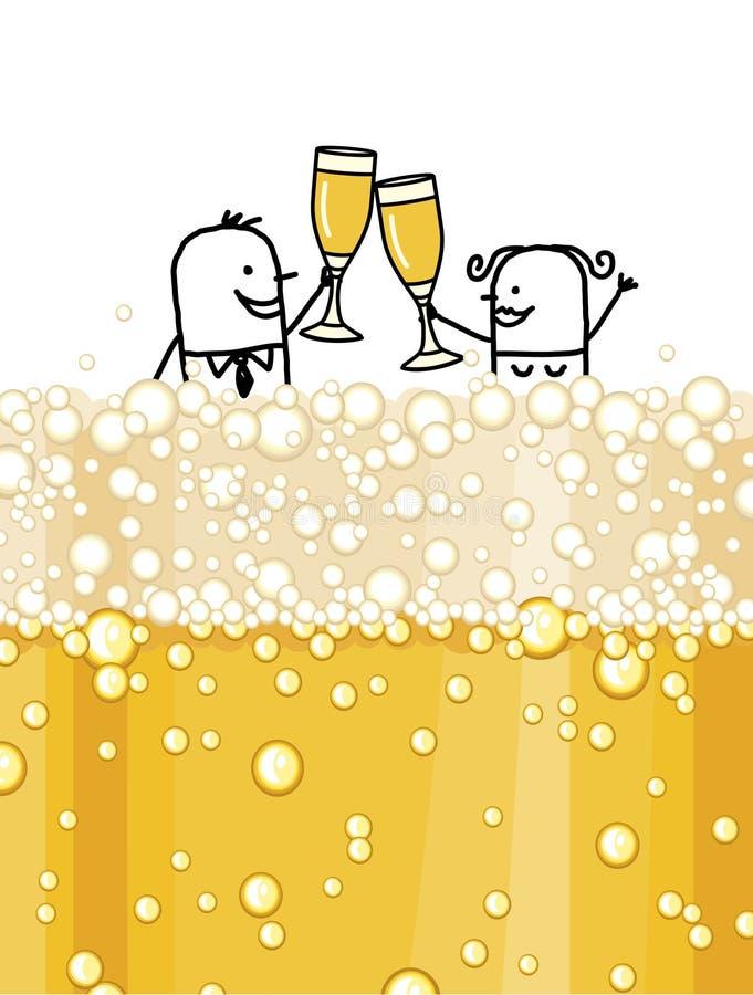 Pares & champanhe ilustração do vetor
