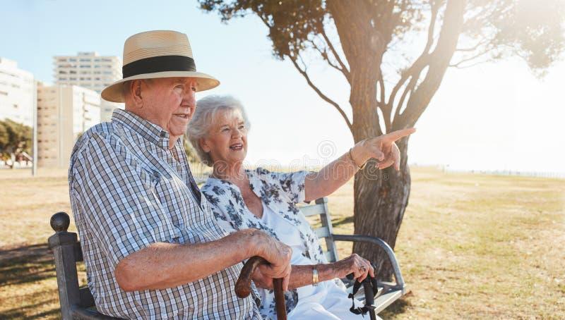 Pares aposentados que relaxam em um banco de parque foto de stock