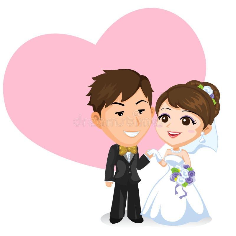 Pares asiáticos de la boda ilustración del vector