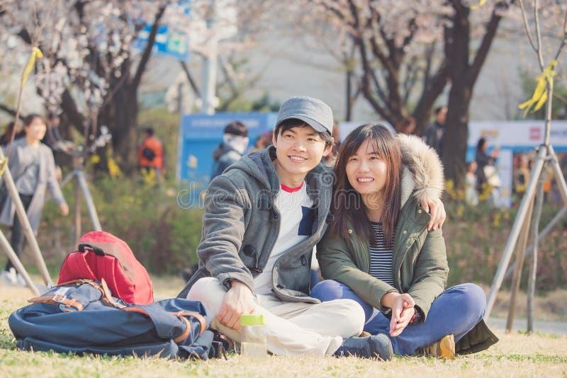 Pares asiáticos en Corea imágenes de archivo libres de regalías