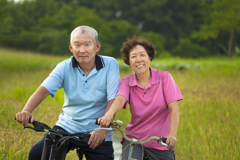 Pares asiáticos felizes dos sêniores que biking no parque imagem de stock royalty free