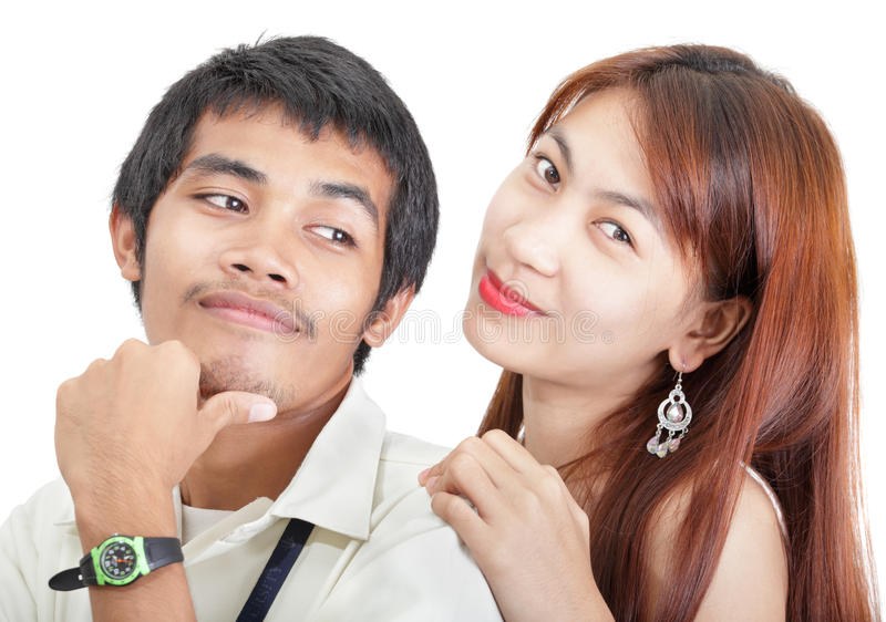 Pares asiáticos novos do estudante imagem de stock