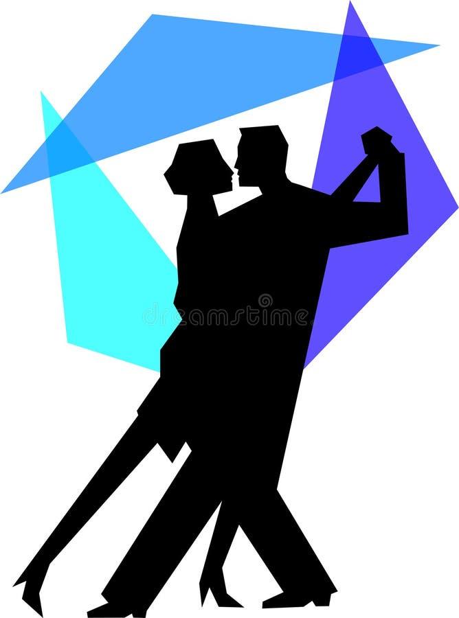 Pares azules de la danza del tango stock de ilustración