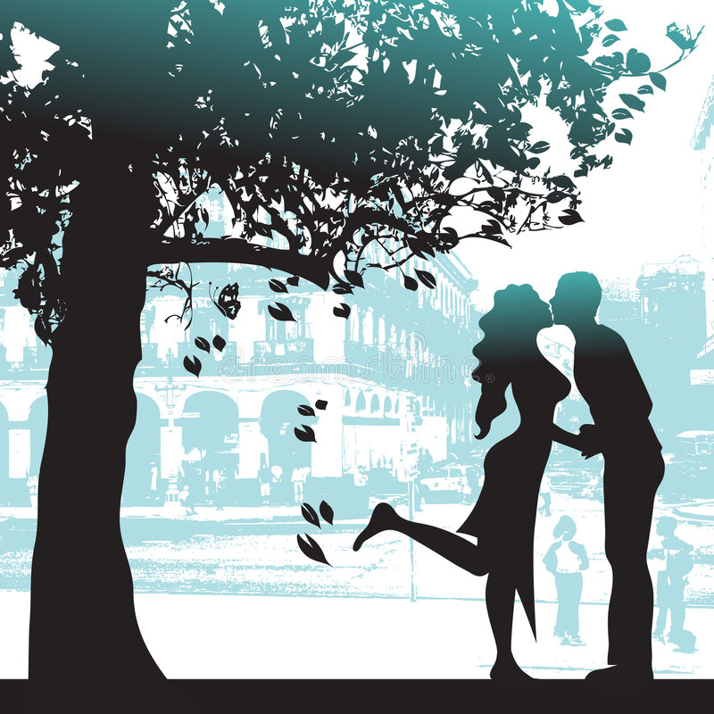 Pares bajo el árbol en ciudad   libre illustration