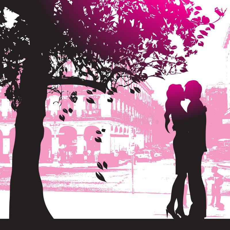 Pares bajo el árbol en parque de la ciudad ilustración del vector