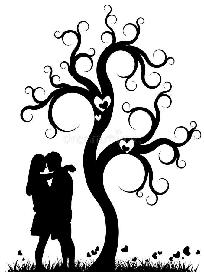 Pares bajo un árbol ilustración del vector