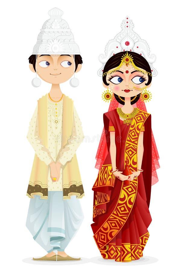 Pares bengalis do casamento ilustração do vetor