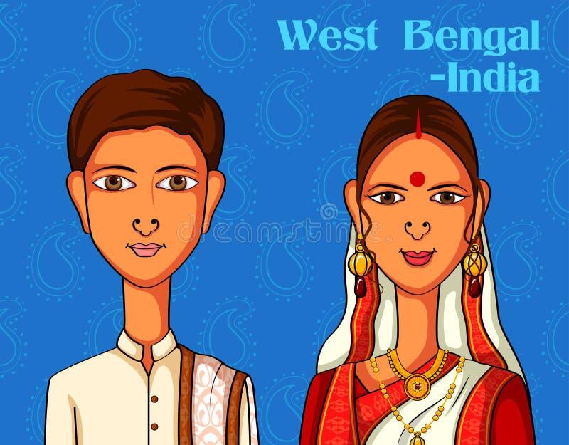 Pares bengalis no traje tradicional de Bengal ocidental, Índia ilustração do vetor