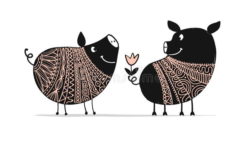 Pares bonitos de porcos, símbolo de 2019 para seu projeto ilustração royalty free