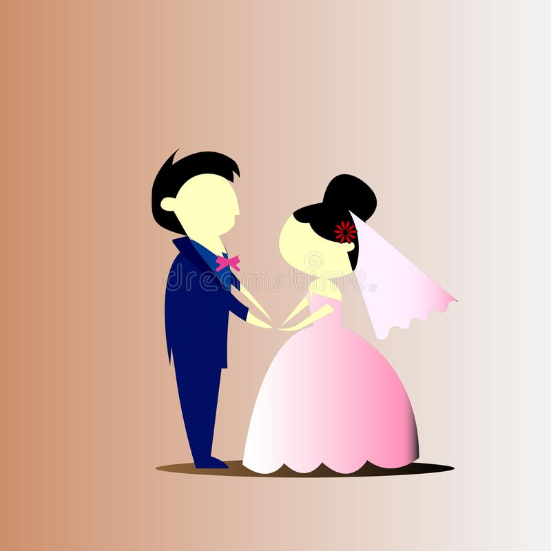 Pares bonitos do casamento no azul e no rosa fotos de stock royalty free