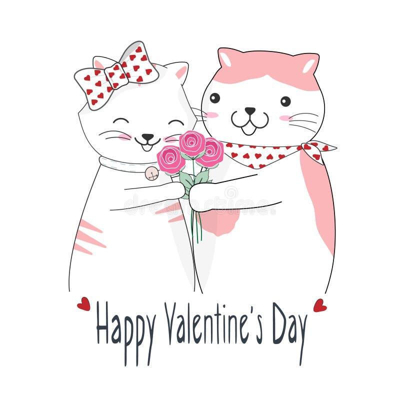 Pares bonitos do gato e ramalhete da rosa, cartão feliz do dia de Valentim ilustração stock