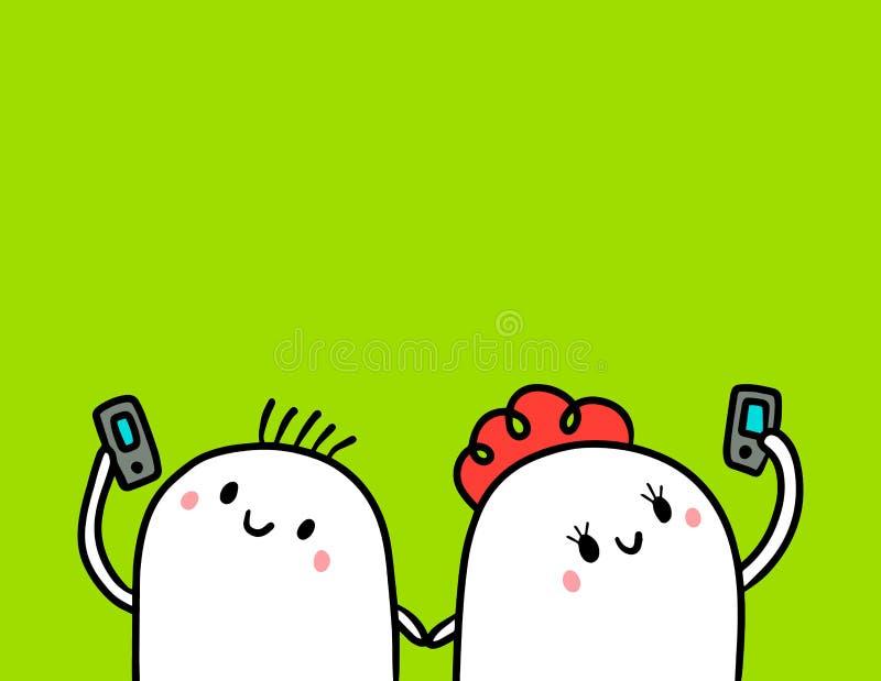 Pares bonitos do marshmallow e minimalismo tirado mão dos desenhos animados da ilustração do smartphone ilustração stock