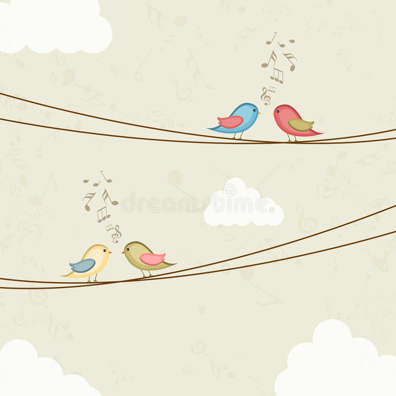 Pares bonitos do pássaro com notas musicais ilustração do vetor