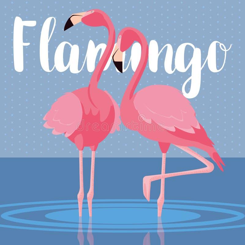 Pares bonitos dos pássaros dos flamingos na paisagem ilustração stock