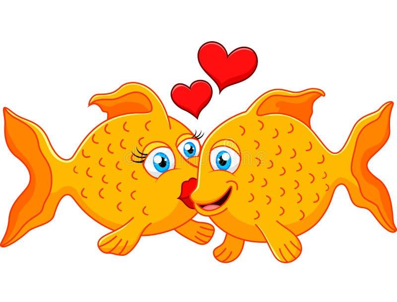 Pares bonitos dos peixes no amor com coração ilustração royalty free
