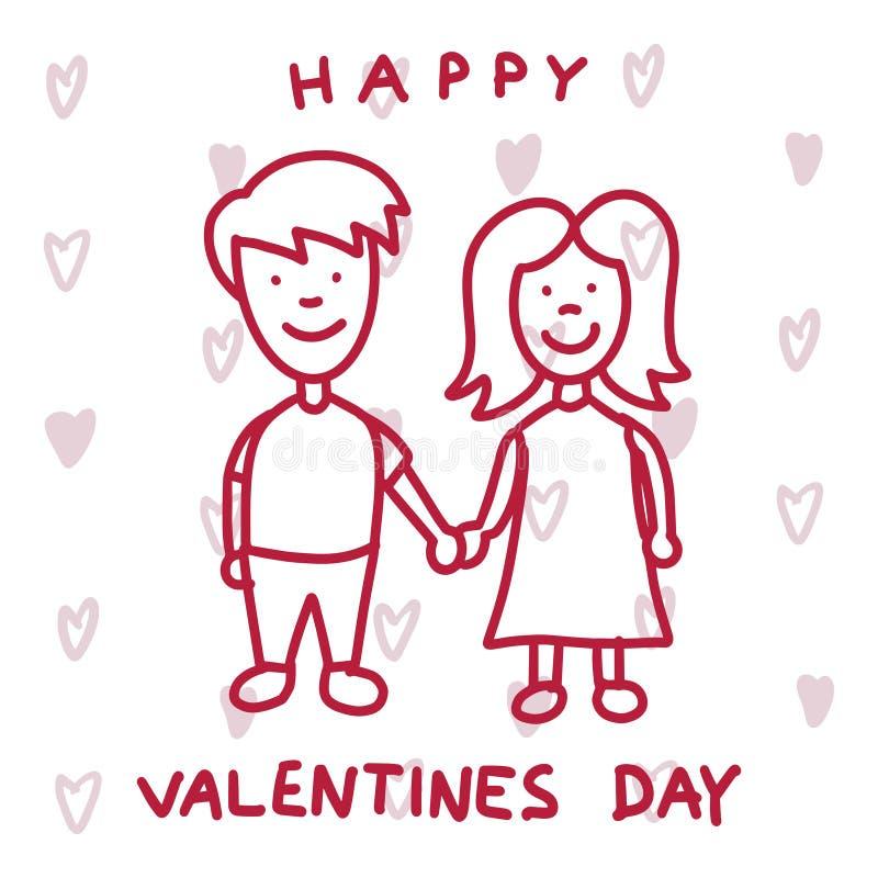 Pares bonitos no amor Cartão feliz do dia dos Valentim fotografia de stock royalty free